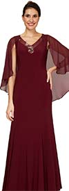 Le Bos 29539W - Womens Chiffon Cape Dress With Beaded V-Neck Design