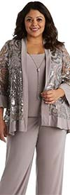 R&M Richards 2343W-Champagne - Womens Three Piece Pant Suit With Sequin And Mesh Design Jacket