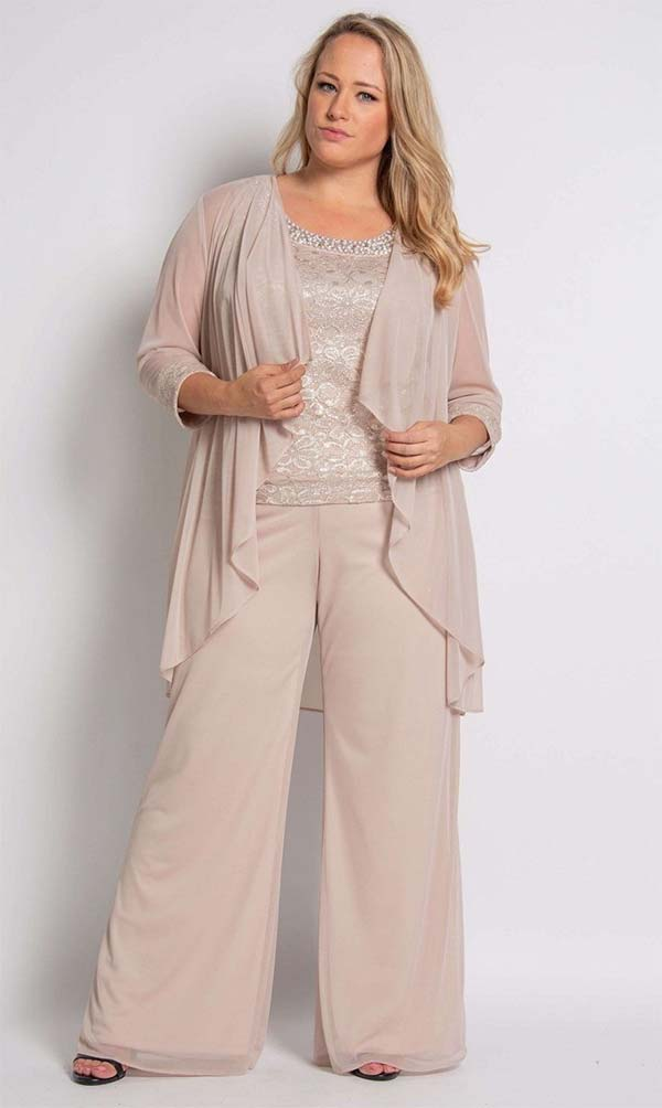 R&M Richards 5008W-Champagne - Three Piece Womens Pant Suit With Lace Beaded Neckline Camisole