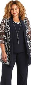 R&M Richards 5902 - Womens Pant Suit With Mesh Banded Butterfly Sleeve Jacket