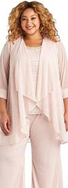 R&M Richards 7008W-Rose - Three Piece Womens Pant Suit With Beaded Neckline Camisole And Duster Jacket