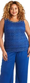 R&M Richards 7008W-Royal - Three Piece Womens Pant Suit With Beaded Neckline Camisole And Duster Jacket