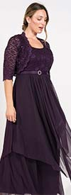 R&M Richards 7300 - Womens Bolero Style Jacket And Dress Set In Lacey Design