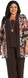 R&M Richards 7496W - Womens Two Piece Pant Suit With Mesh Print Mock Jacket Design