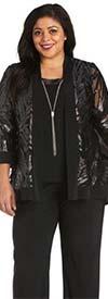R&M Richards 7547W - Womens Three Piece Pant Suit With Mesh Print Design Jacket