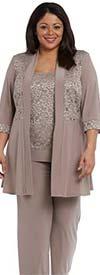 R&M Richards 7772-Mocha - Womens Lace Accented Pant Suit With Long Jacket