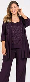 R&M Richards 7772W-Plum - Womens Lace Accented Pant Suit With Long Jacket