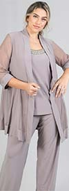 R&M Richards 8764W - Womens Mock Three Piece Pant Suit With Mesh Sleeve Jacket Design