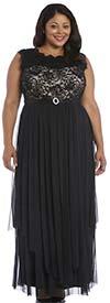 R&M Richards 9406W - Womens Sleeveless Dress Featuring Lace Hankie Panel Detail