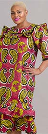 Celina 111P-FuchsiaYellow - Ruffle Detail Womens Dress In Bold Color Print Design With Matching Headwrap