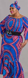 Celina 116P-Blue/Pink- Womens Bell Sleeve Smocked Dress In Bold Color Print With Matching Headwrap