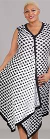 Mesmerize 210D - Sleeveless Womens Drape Front Dress In Grid Pattern Print Design