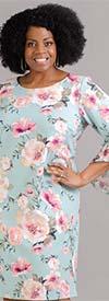 Shelby & Palmer 9P311W - Womens Chiffon Flounce Sleeve Dress In Floral Print Design
