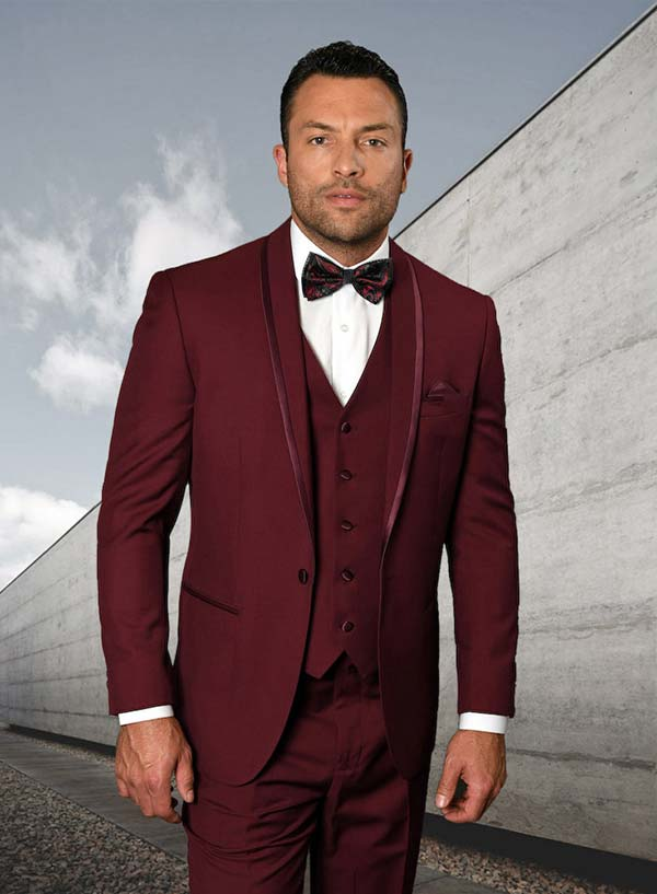 Statement-CAESAR-Burgundy - Mens Three Piece Tailored Fit Shawl Lapel Suit With Flat Front Pants And Bow Tie