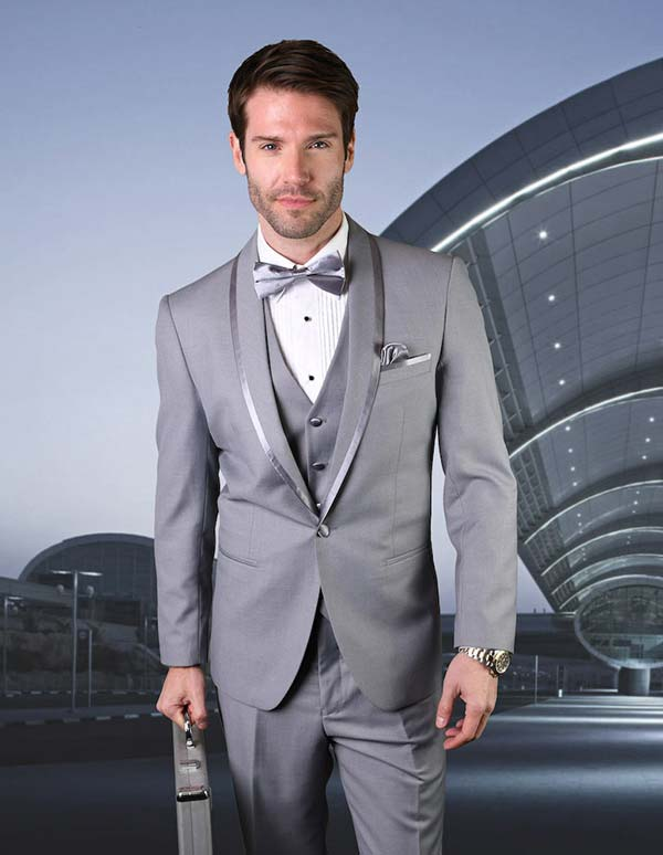 Statement-CAESAR-Grey - Mens Three Piece Tailored Fit Shawl Lapel Suit With Flat Front Pants And Bow Tie