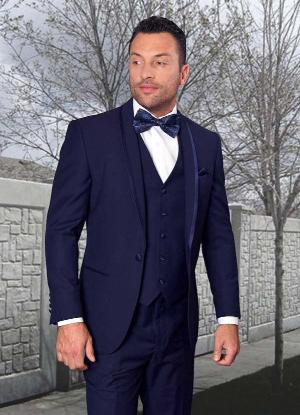 Statement-CAESAR-Navy - Mens Three Piece Tailored Fit Shawl Lapel Suit With Flat Front Pants And Bow Tie
