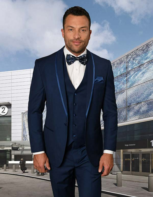 Statement-CAESAR-Sapphire - Mens Three Piece Tailored Fit Shawl Lapel Suit With Flat Front Pants And Bow Tie
