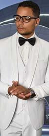 Statement-CAESAR-White - Mens Three Piece Tailored Fit Shawl Lapel Suit With Flat Front Pants And Bow Tie