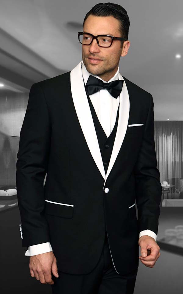 Statement-ENCORE-Black - Mens Three Piece Tailored Fit Shawl Lapel Suit With Flat Front Pants And Bow Tie
