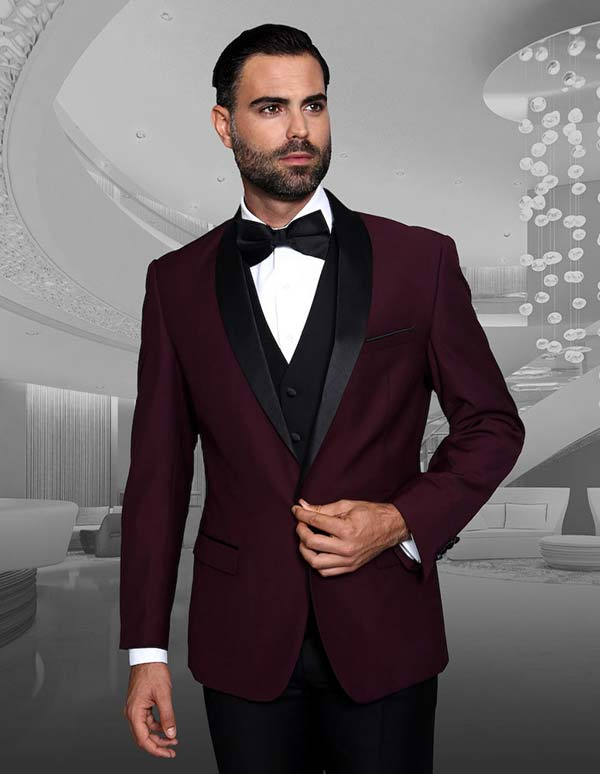 Statement-ENCORE-Burgundy - Mens Three Piece Tailored Fit Shawl Lapel Suit With Flat Front Pants And Bow Tie