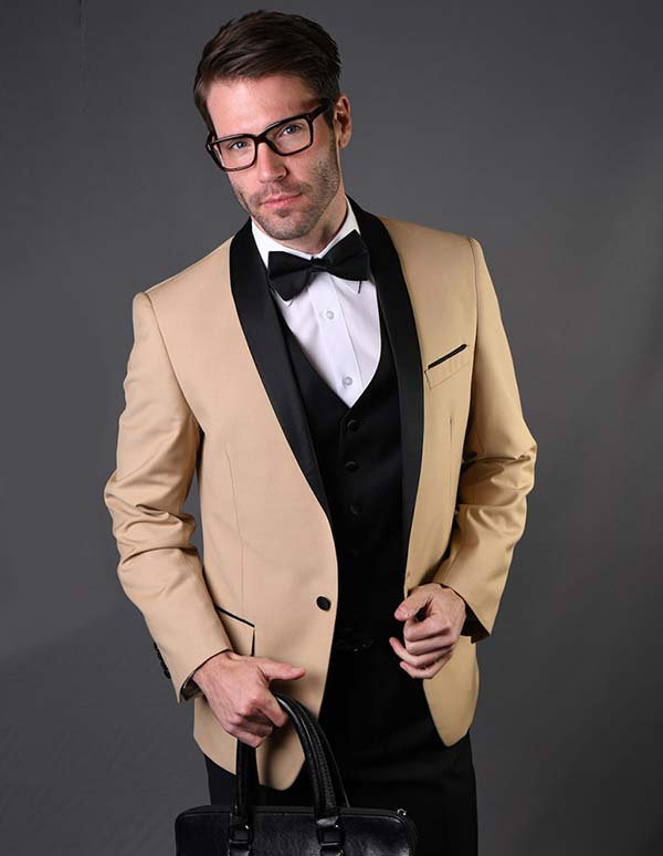 Statement-ENCORE-Champagne - Mens Three Piece Tailored Fit Shawl Lapel Suit With Flat Front Pants And Bow Tie