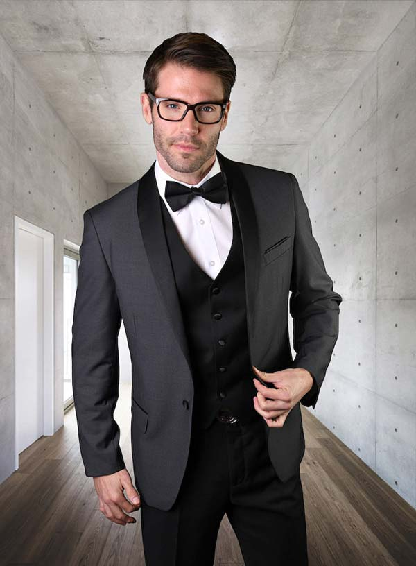 Statement-ENCORE-Charcoal - Mens Three Piece Tailored Fit Shawl Lapel Suit With Flat Front Pants And Bow Tie