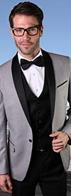 Statement-ENCORE-Grey - Mens Three Piece Tailored Fit Shawl Lapel Suit With Flat Front Pants And Bow Tie