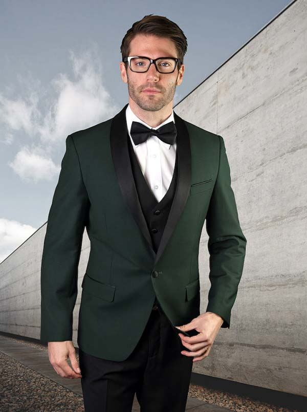 Statement-ENCORE-Hunter - Mens Three Piece Tailored Fit Shawl Lapel Suit With Flat Front Pants And Bow Tie