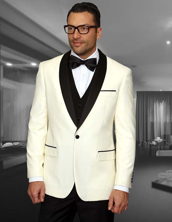 Statement-ENCORE-Off White - Mens Three Piece Tailored Fit Shawl Lapel Suit With Flat Front Pants And Bow Tie
