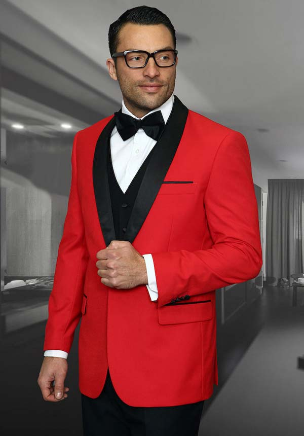Statement-ENCORE-Red - Mens Three Piece Tailored Fit Shawl Lapel Suit With Flat Front Pants And Bow Tie