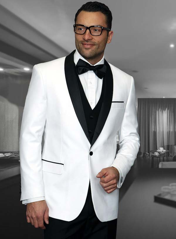 Statement-ENCORE-White - Mens Three Piece Tailored Fit Shawl Lapel Suit With Flat Front Pants And Bow Tie