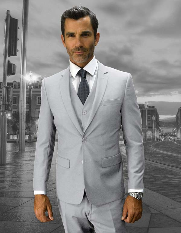 Statement-LORENZO-Ash - Mens Three Piece Slim Fit Notch Lapel Suit With Flat Front Pants In Super 150s Wool