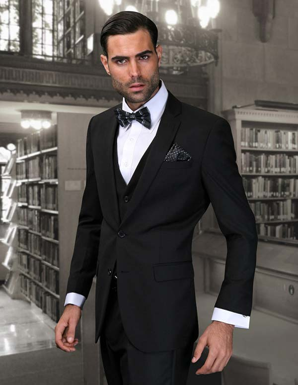 Statement-LORENZO-Black - Mens Three Piece Slim Fit Notch Lapel Suit With Flat Front Pants In Super 150s Wool