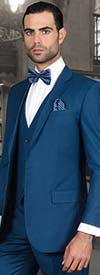 Statement-LORENZO-Blue - Mens Three Piece Slim Fit Notch Lapel Suit With Flat Front Pants In Super 150s Wool