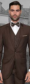 Statement-LORENZO-Brown - Mens Three Piece Slim Fit Notch Lapel Suit With Flat Front Pants In Super 150s Wool