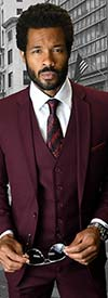 Statement-LORENZO-Burgundy - Mens Three Piece Slim Fit Notch Lapel Suit With Flat Front Pants In Super 150s Wool
