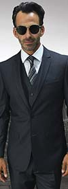 Statement-LORENZO-Charcoal - Mens Three Piece Slim Fit Notch Lapel Suit With Flat Front Pants In Super 150s Wool