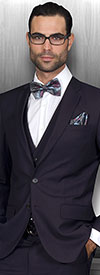 Statement-LORENZO-Eggplant - Mens Three Piece Slim Fit Notch Lapel Suit With Flat Front Pants In Super 150s Wool