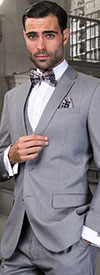 Statement-LORENZO-Grey - Mens Three Piece Slim Fit Notch Lapel Suit With Flat Front Pants In Super 150s Wool