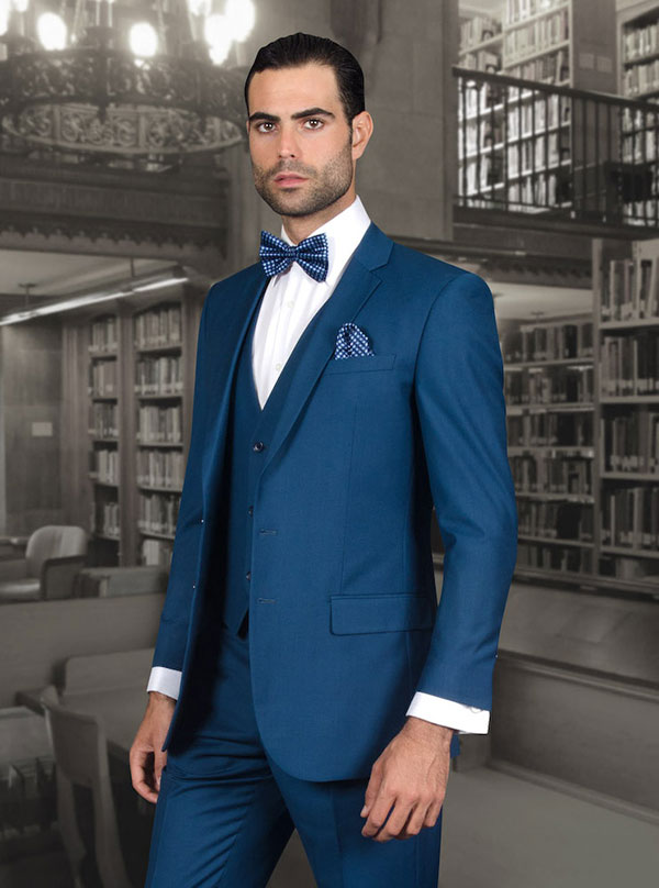 Statement-LORENZO-Indigo - Mens Three Piece Slim Fit Notch Lapel Suit With Flat Front Pants In Super 150s Wool