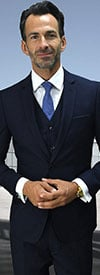 Statement-LORENZO-Navy - Mens Three Piece Slim Fit Notch Lapel Suit With Flat Front Pants In Super 150s Wool