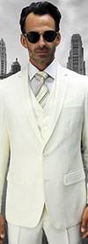 Statement-LORENZO-OffWhite - Mens Three Piece Slim Fit Notch Lapel Suit With Flat Front Pants In Super 150s Wool