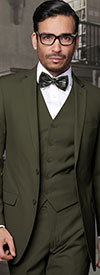 Statement-LORENZO-Olive - Mens Three Piece Slim Fit Notch Lapel Suit With Flat Front Pants In Super 150s Wool