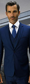 Statement-LORENZO-Sapphire - Mens Three Piece Slim Fit Notch Lapel Suit With Flat Front Pants In Super 150s Wool