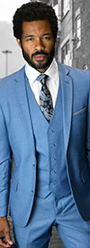 Statement-LORENZO-SteelBlue - Mens Three Piece Slim Fit Notch Lapel Suit With Flat Front Pants In Super 150s Wool