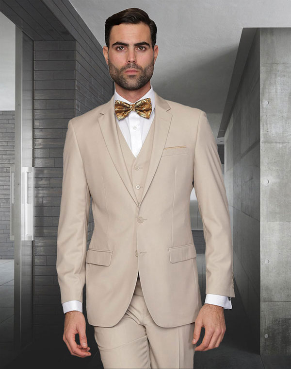 Statement-LORENZO-Tan - Mens Three Piece Slim Fit Notch Lapel Suit With Flat Front Pants In Super 150s Wool