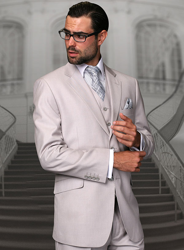 Statement-STZV-100-Ash - Mens Three Piece Tailored Fit Notch Lapel Suit With Flat Front Pants In Super 150s Wool