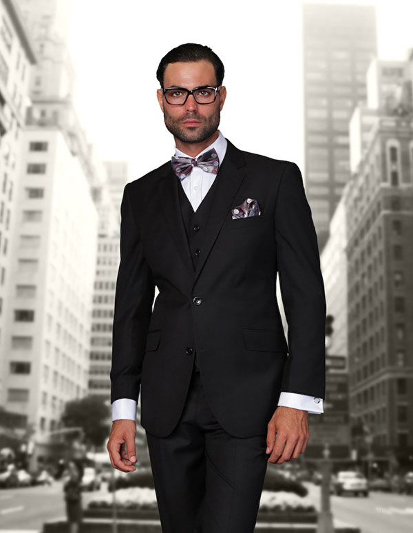 Statement-STZV-100-Black - Mens Three Piece Tailored Fit Notch Lapel Suit With Flat Front Pants In Super 150s Wool