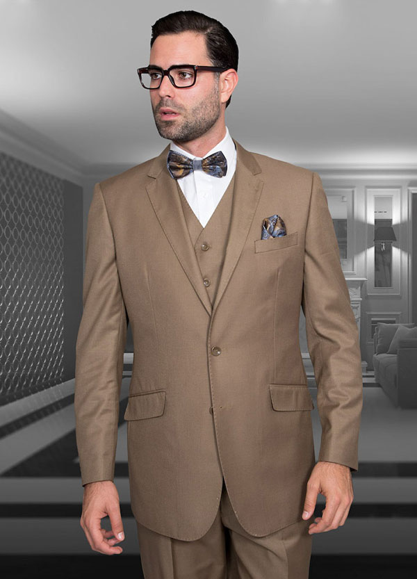 Statement-STZV-100-Bronze - Mens Three Piece Tailored Fit Notch Lapel Suit With Flat Front Pants In Super 150s Wool