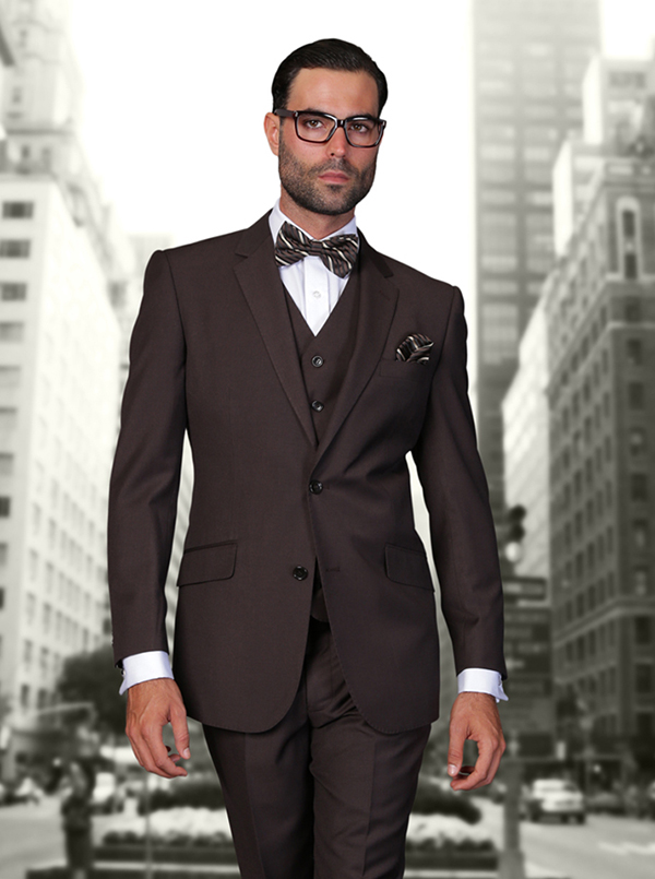 Statement-STZV-100-Brown - Mens Three Piece Tailored Fit Notch Lapel Suit With Flat Front Pants In Super 150s Wool